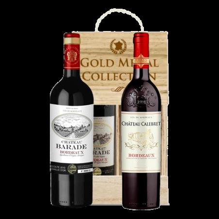 Squillari      DUETTO BORDEAUX - Cassetta in legno naturale con 2 bottiglie di vino rosso bordolese premiato