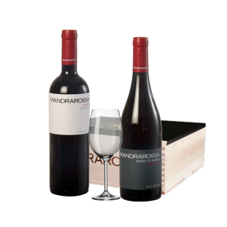 Cantine Settesoli     Cassetta in legno MANDRAROSSA con 2 bottiglie di vino rosso siciliano + 1 calice