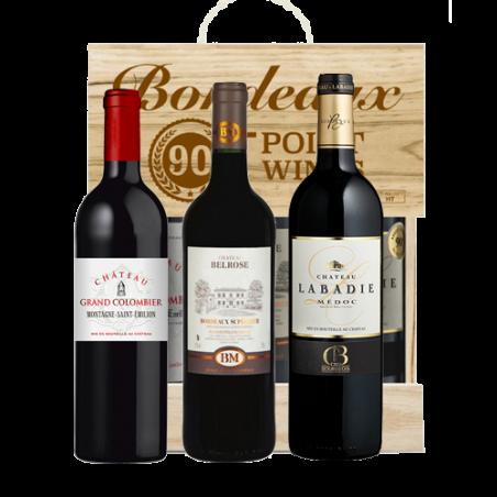 Squillari      TRIO BORDEAUX - Cassetta in legno naturale con 3 bottiglie di vino rosso bordolese