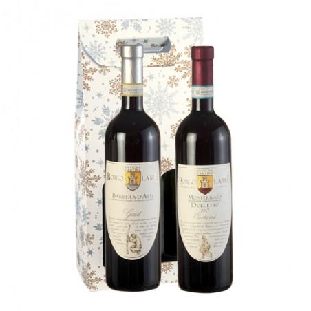 Borgo Lame     DUETTO PIEMONTE - Valigetta con 2 bottiglie di vino rosso piemontese Doc e Docg