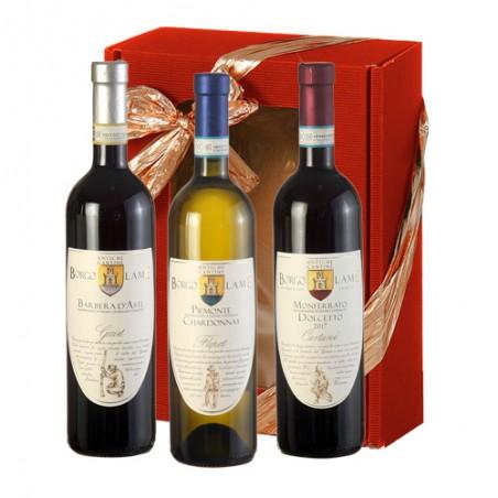 Borgo Lame    TRIS PIEMONTE - Cassetta stesa rossa contenente 3 vini rossi piemontesi