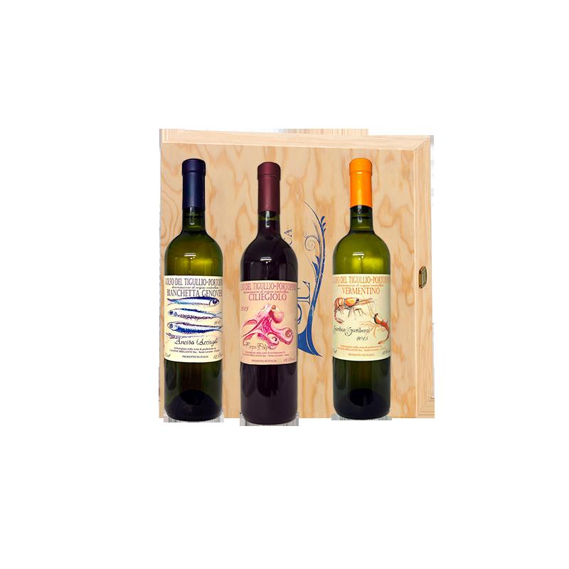 """Bregante     Cassetta naturale marchiata Squillari con 3 bottiglie di VINI LIGURI """"B"""""""