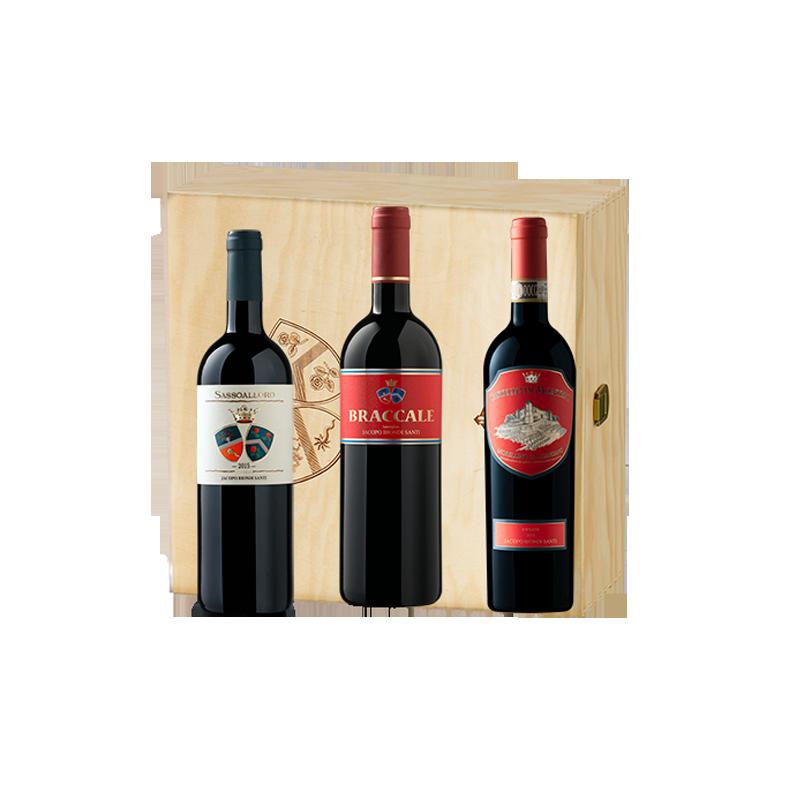 Biondi Santi     Cassetta in legno con 3 vini di BIONDI SANTI - Sassoalloro, Braccale e Morellino