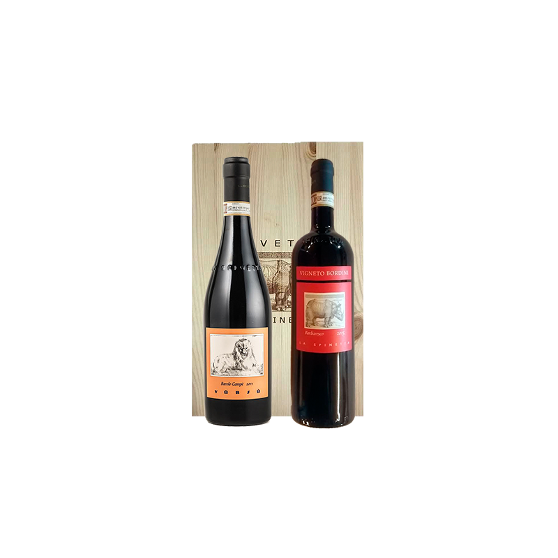 La Spinetta     Cassetta in legno con 2 vini de LA SPINETTA - Barolo Campe' e Barbaresco Bordini Docg