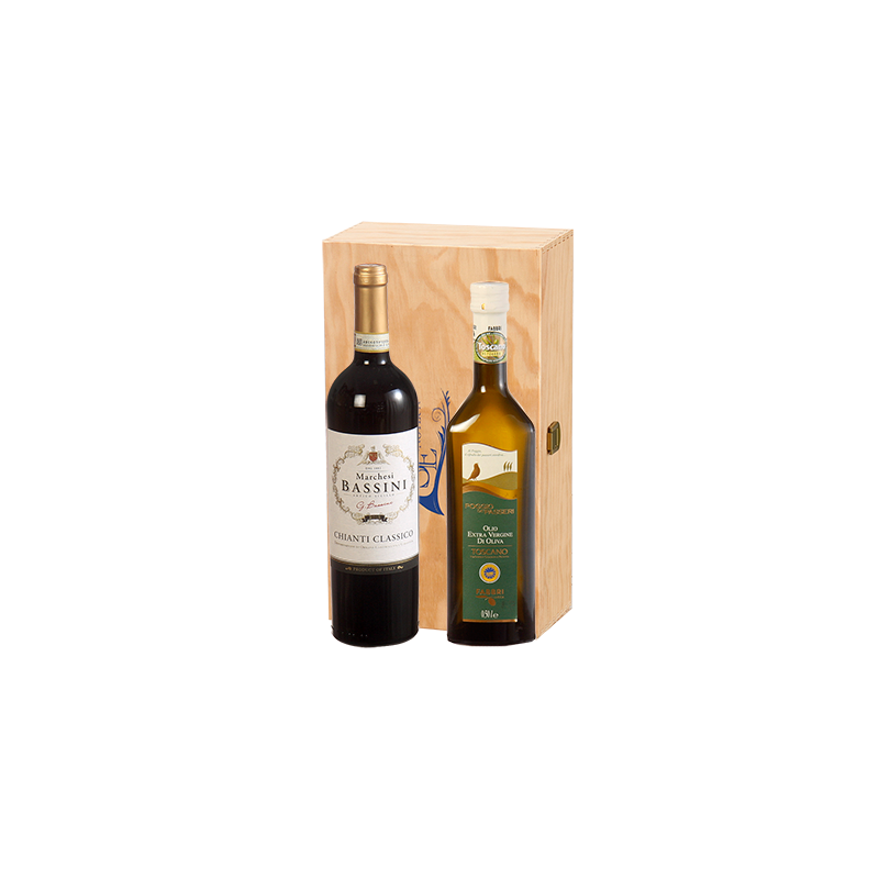 Marchesi Bassini e Fabbri     Cassetta naturale in legno marchiata Squillari con OLIO E CHIANTI X 2