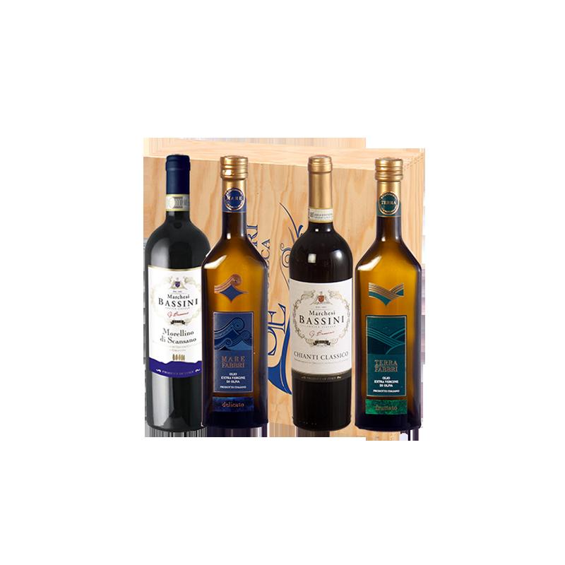 Marchesi Bassini e Fabbri     Cassetta naturale in legno marchiata Squillari con OLIO E VINO X 4