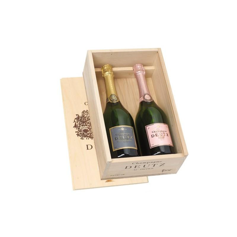Champagne    Cassetta in legno con due bottiglie