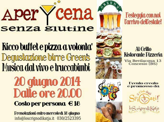 APERI-CENA senza glutine alla Pizzeria AL GRILLO di Concesio (Brescia)