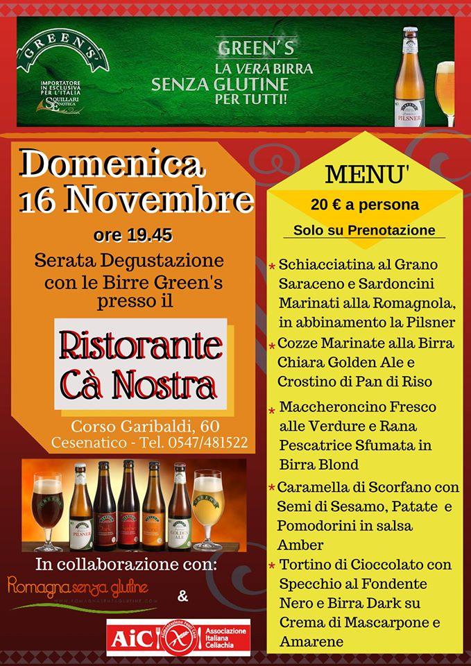 Le birre GREEN'S incontrano l'Adriatico al Ristorante CA' NOSTRA